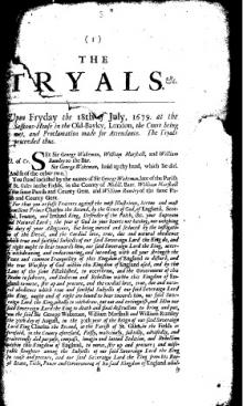 Pamphlet from the trial of Sir George Wakeman